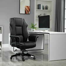 Padded High-Back Computer Office Gaming Chair Black Vinsetto Piped PU Leather