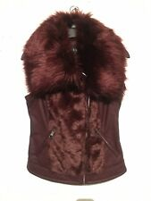 GUESS $118 NEW 3317 Piper Faux Fur Leather Vest Womens Jacket Coat Xs