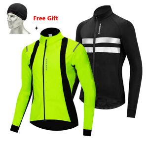Winter Thermal Fleece Jacket + Free Gift Hat Men Cycling Jersey Long Sleeve Coat
