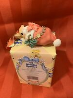 Blushing BUNNY IN SANTA'S HAT Christmas Ornament NEW NOS