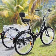 Ridegyard 24 Zoll Dreirad Erwachsene 7 Gang Erwachsenendreirad Trike+ Korb