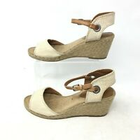 Lucky Brand Kyndra Ankle Strap Espadrille Wedge Sandal Peep Toe Beige Women 7.5M
