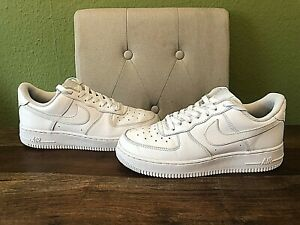 Nike Air Force 1 White Leather Trainers - Size UK 6 - EU 40
