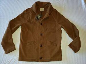 NWT Dehen Knitting Co. THICK Wool Knit Button Shawl Collar Sweater Jacket Sz M