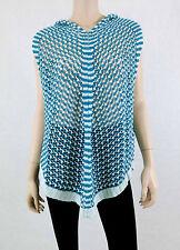 NWT $160 BCBG MAX AZRIA Knitted Crochet Poncho Hooded Cloak Sleeveless Blue L