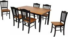 7 Pc Black & Oak Dining Room Set Wood Furniture Table 6 Chairs Kitchen Sets NEW