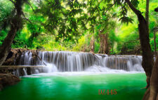 Polyester 7x5FT Waterfall Green Leaves Photography Background Studio Backdrop