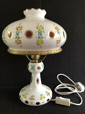LARGE BOHEMIAN CZECH FLORAL PAINTED CUT TO CLEAR & BRASS  MUSHROOM TABLE LAMP