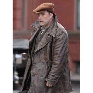 Men's Live By Night Ben Affleck Distressed Brown Vintage Leather Coat Jacket
