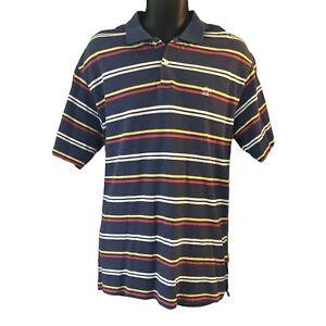 Penguin Men's Polo Shirt XL Blue Striped White Red Yellow