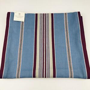 """Pottery Barn Table Runner Fairfax Stripe Woven Blue Maroon 16""""x108"""" 100% Cotton"""