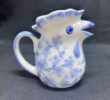 Andrea by Sadek? Mini Rooster Chicken Creamer Pitcher Blue White