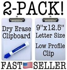 "Letter Size Clipboard Dry Erase Surface 9x12.5"" Low Profile Clip Whiteboard 2pcs"