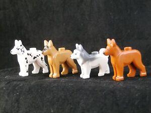 LEGO FOUR DOGS ~ Minifigure Animal Pet German Shepherd Dalmatian Husky ** NEW **