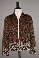 MING WANG $298 Brown Ombre Printed Metallic Open Jacket Large