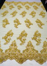 """Yellow Floral Mesh w/ Embroidery Hand Beaded Lace Fabric - 52""""- Sold by the yard"""