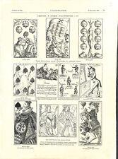 Cartes à jouer Allemagne du XVIe siècle jeux de fables de Louis XIV GRAVURE 1903