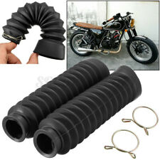 2Pcs Motorcycle Motorcross Front Fork Protector Cover Gaiter Boot Rubber Black