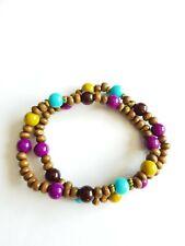 El comercio justo de la madera orgánicos púrpura y oro Rectangular Gota colgantes pendientes