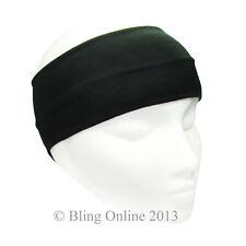 Black 10cm Wide Stretch Fabric Headband Hair Band Gym Running Football Sports.