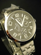 New Mens INVICTA 5870 Retrograde GMT Stainless Steel Quartz Watch and Box