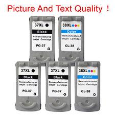 5 Ink Cartridges for Canon PG-37 & CL-38 Black & Colour Pixma MP190 Inkjet MP140