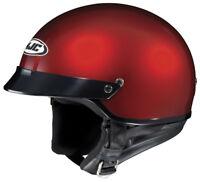 HJC Adult CS-2N Solid Wine Red Half Motorcycle Cruiser Helmet DOT