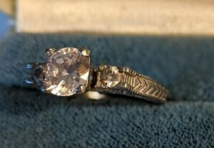 Stainless Steel & Lab Created Diamond 3 Stone Engagement Ring