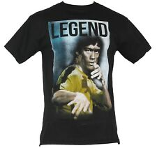 """Bruce Lee Mens T-Shirt - """"Legend"""" Classic Yellow Suited  Phot Image"""