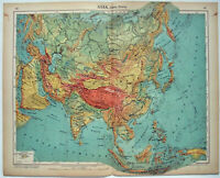 Asia - Original 1915 Physical Map by Kartographia Winterthur SA. Antique