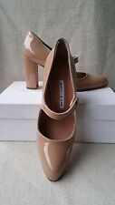 New Manolo Blahnik 38.5 8 Campy 90mm Mary Jane Pump Beige Nude Patent Heels Shoe