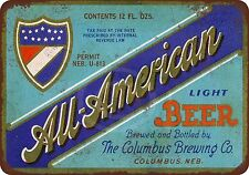 All-American Beer Vintage Reproduction metal Sign 8 x 12