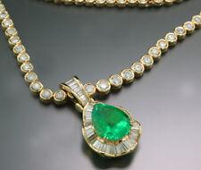 Smaragd Collier Kette Kolumbien 14,14 carat Diamanten ca. 14,54 carat DSEF NEU