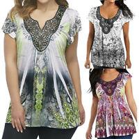 Women Lady Summer Floral Short Sleeve Tunic Shirt Irrgular Hem Loose Tops Blouse