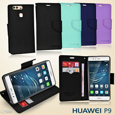 Cross Line Wallet Flip Card Slot Stand Leather Case Cover For Huawei P9