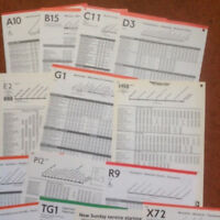 100 x London Transport Bus Stop Timetable Panels - Routes A - X - 1980's/90's