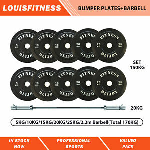 Olympic Bumper Plates Package 5/10/15/20/25Kg+2.2m bar Gym Fitness Rubber Coated