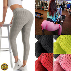 Women Yoga Pants Anti-Cellulite Leggings High Waist Sport Gym Honeycomb Trousers