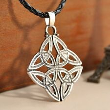 "with 22"" Braided Leather Necklace  Silver Celtic Knot Trinity Pewter Pendant"