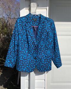 NWT Talbots Beautiful Turquoise Navy Pique Damask Pattern Lined Blazer 22W 3X