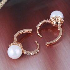 Luxury 18K gold filled  leverback earring sweet heart pearl& white sapphire
