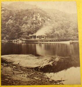 Antique Stereoview by G.W. Wilson, Trossachs Pier, Rob Roy Steamboat, Scotland