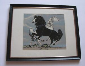 MID-CENTURY FRANK VIGIL SILK SCREEN ART HORSES MISTY MOON and DARKER 'N NIGHT