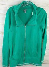 XXI Womens Full Zip Sweatshirt Small Track Cowl Neck Green Pockets Cotton