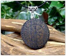 Vegvisir Pendant Necklace in 5000 year old Irish Bog Oak wood Icelandic Viking