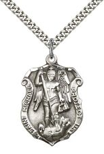 """Sterling Silver St Michael the Archangel Pendant 24"""" Chain 5448SS/24S"""
