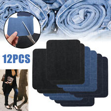 12 Jeans Patches Iron On Elbow Knee Denim Diy Sewing Appliques Decor Repair Us