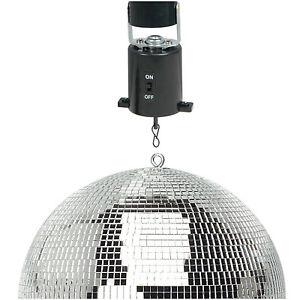 "New Lightweight Silver Mirror Dance Disco Party DJ Ball 400mm 16"" & Moving Motor"