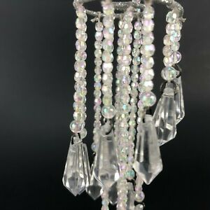 "Christmas Ornament Chandelier Silver Glitter DANGLE Iridescent Beaded 7"" ACRYLIC"