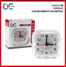 SVEGLIA ANALOGICA COMODINO PLASTICA TRASPARENTE CON MOVIMENTO SILENZIOSO 7,5X7,5